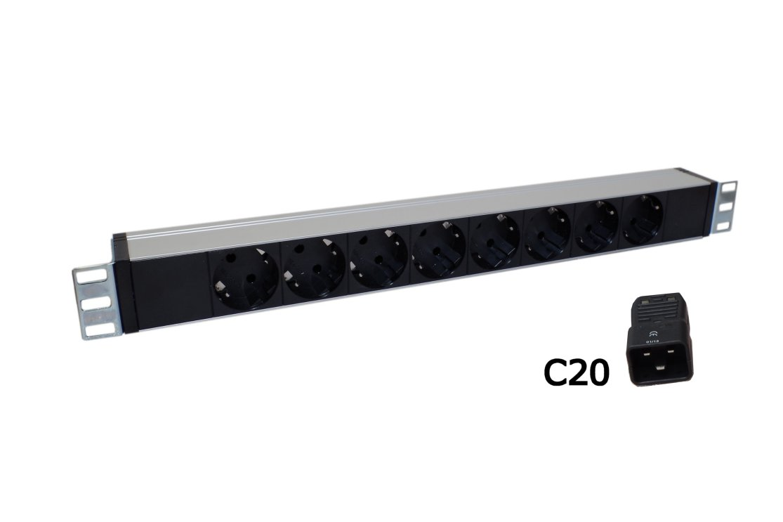 Razdelilnik 230V -PDU 9vtičnic 1HE shuko C20 priklop